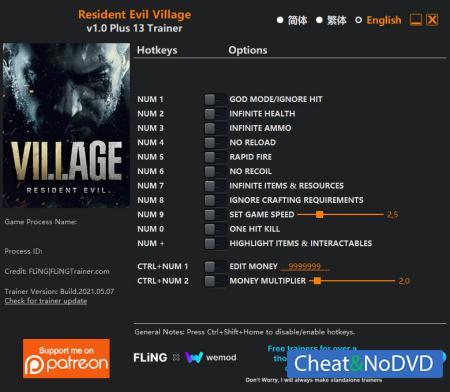 Resident Evil Village трейнер Trainer +13 v1.0 {FLiNG}