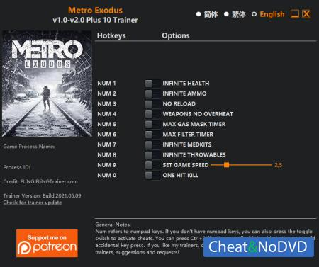 Metro Exodus Enhanced Edition трейнер Trainer +10 v2.0 {FLiNG}
