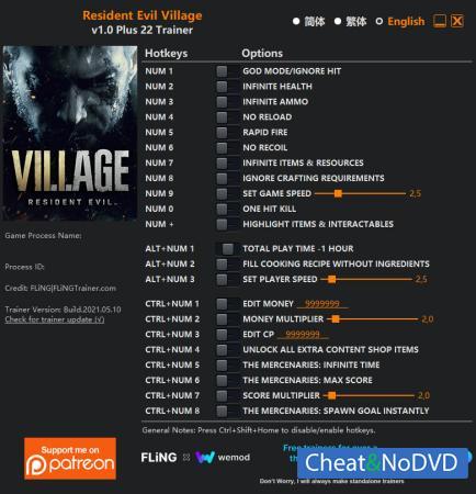 Resident Evil Village трейнер Trainer +22 v1.0 {FLiNG}