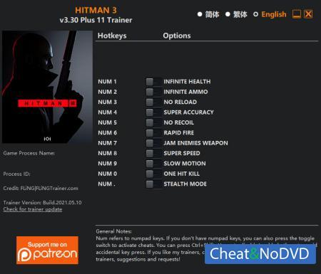 HITMAN 3 трейнер Trainer +11 v3.30 {FLiNG}