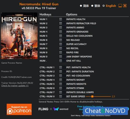 Necromunda: Hired Gun трейнер Trainer +19 v0.58333 {FLiNG}