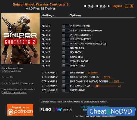 Sniper Ghost Warrior Contracts 2 трейнер Trainer +15 v1.0 {FLiNG}
