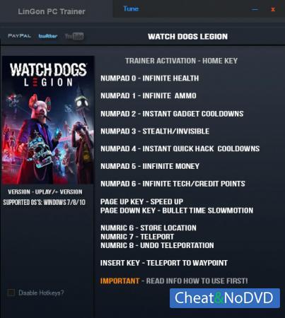 Watch Dogs: Legion трейнер Trainer +13 v05.06.2021 {LinGon}