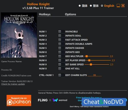 Hollow Knight трейнер Trainer +11 v1.5.68 {FLiNG}