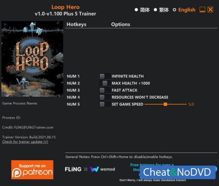 Loop Hero трейнер Trainer +5 v1.100 {FLiNG}