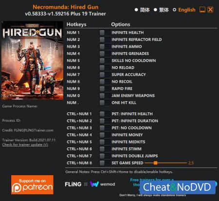 Necromunda: Hired Gun трейнер Trainer +19 v1.59216 {FLiNG}