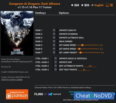 Dungeons and Dragons: Dark Alliance трейнер Trainer +11 v1.16 {FLiNG}