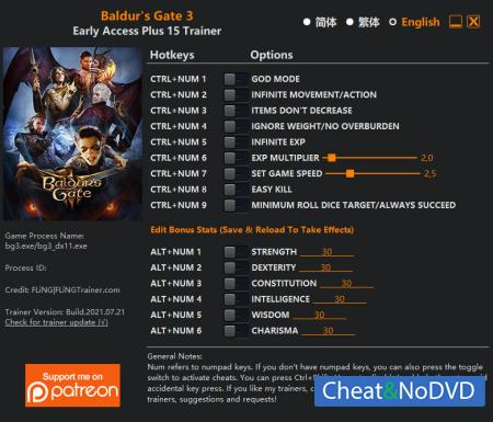 Baldur's Gate 3 трейнер Trainer +15 Early Access 2021.07.21 {FLiNG}