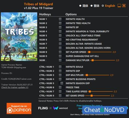Tribes of Midgard трейнер Trainer +19 v1.02 {FLiNG}