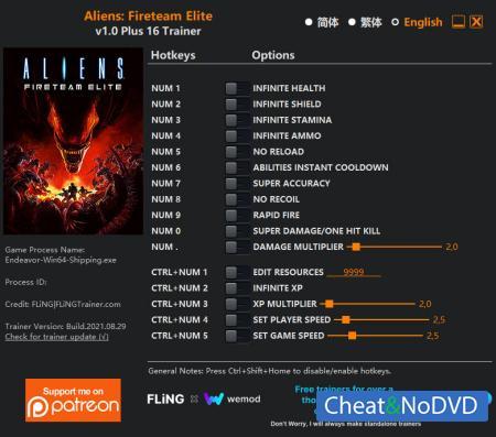 Aliens: Fireteam Elite трейнер Trainer +16 v1.0 {FLiNG}