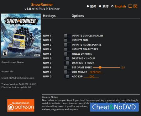 SnowRunner трейнер Trainer +9 v14 {FLiNG}