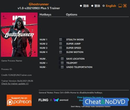 Ghostrunner трейнер Trainer +5 v2021.09.06 {FLiNG}