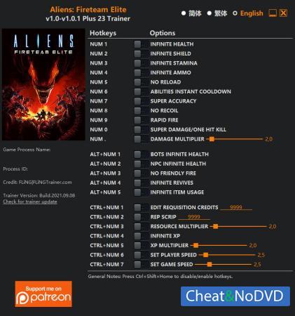 Aliens: Fireteam Elite трейнер Trainer +16 v1.0.1 {FLiNG}