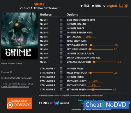 GRIME трейнер Trainer +17 v1.1.37 {FLiNG}
