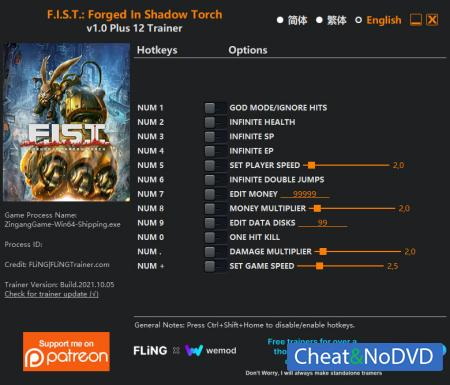 F.I.S.T.: Forged In Shadow Torch трейнер Trainer +12 v1.0 {FLiNG}