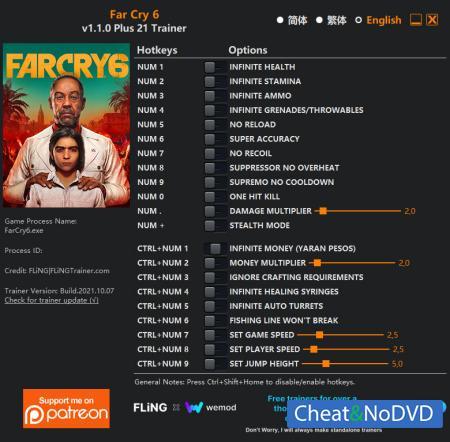 Far Cry 6 трейнер Trainer +21 v1.1.0 {FLiNG}