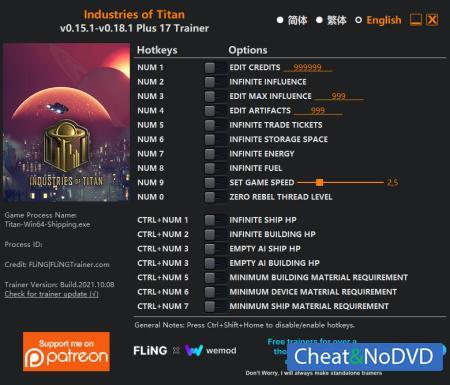 Industries of Titan трейнер Trainer +17 v0.18.1 {FLiNG}
