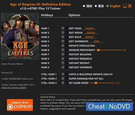 Age of Empires III: Definitive Edition трейнер Trainer +13 v47581 {FLiNG}